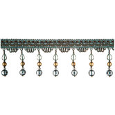 Blue Tessa Bead Fringe Trim